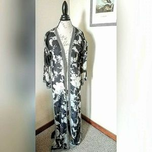 Sheer Floral Kimono Style Duster